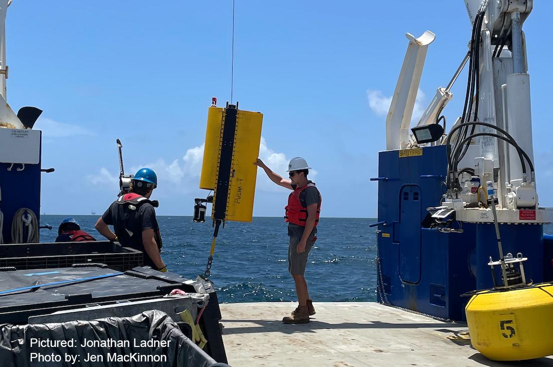 Wirewalker mooring being deployed off the R/V Pelican (photo credit: Dr. Jen MacKinnon)